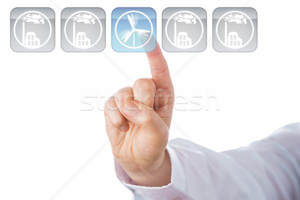 Index Finger Selecting Blue Wind Energy Icon Stock photo © leowolfert