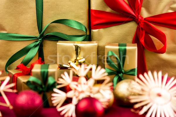 шесть рождество подарки упаковка Рождества Сток-фото © leowolfert