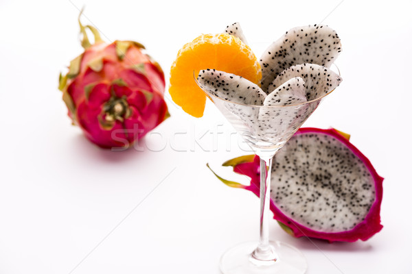 Wedges of the dragon fruit in a glass