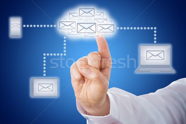 Vinger aanraken e-mail wolk messaging netwerk Stockfoto © leowolfert