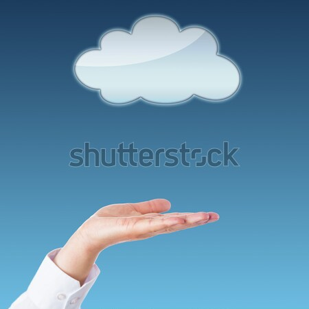 Empty Cloud And Open Palm With Copy Space
