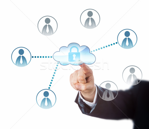 Touching A Locked Cloud Linked To Office Workers Stock photo © leowolfert