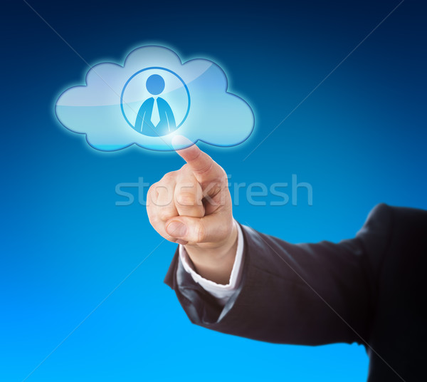 Arm Pointing At Knowledge Worker In Cloud Icon Stock photo © leowolfert