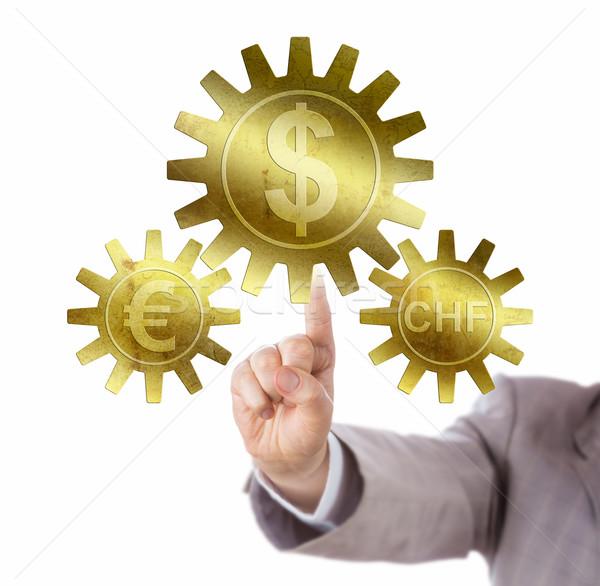 Franc And Euro Pegged To Dollar Via Cog Wheels Stock photo © leowolfert
