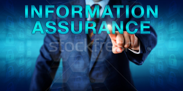 Manager Pressing INFORMATION ASSURANCE Onscreen Stock photo © leowolfert