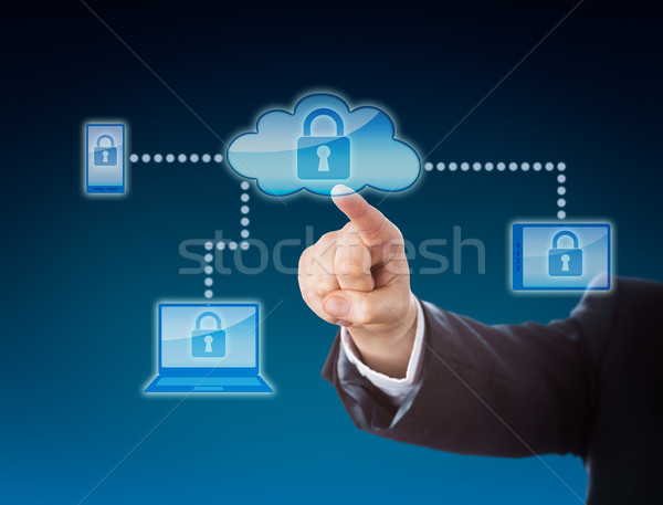 Cloud Computing Security Metaphor In Blue Stock photo © leowolfert