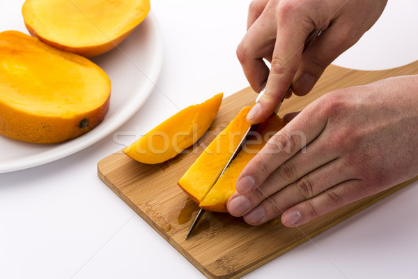 Second Cut Through One Third Of A Trisected Mango Stock photo © leowolfert