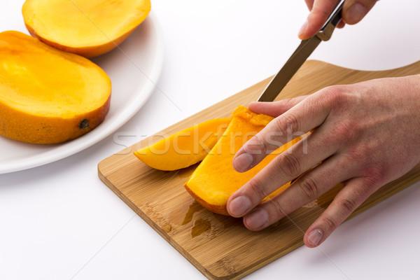 Lédús gyümölcs chip szeletel el mangó Stock fotó © leowolfert