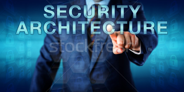 Consultant Pushing SECURITY ARCHITECTURE Onscreen Stock photo © leowolfert