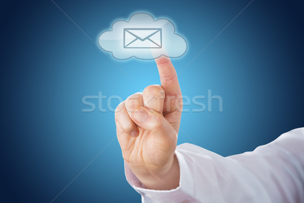 Cloud Email Icon On Blue Ground Activated By Touch Stock photo © leowolfert