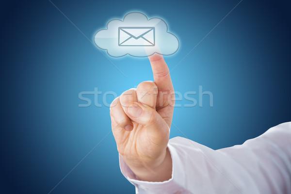 Wolke E-Mail Symbol blau Boden touch Stock foto © leowolfert