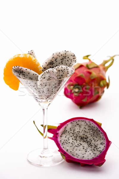 Fruit pulp of the dragon fruit in a glass Stock photo © leowolfert