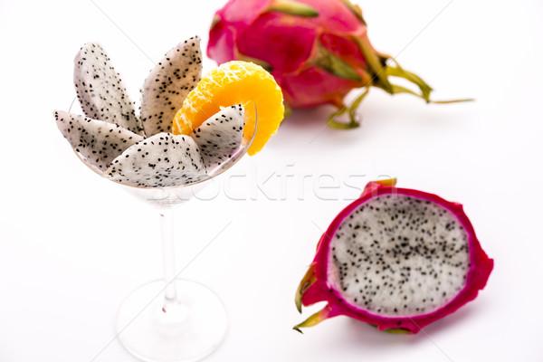 Fruit pulp of the Pitaya, Hylocereus undatus Stock photo © leowolfert