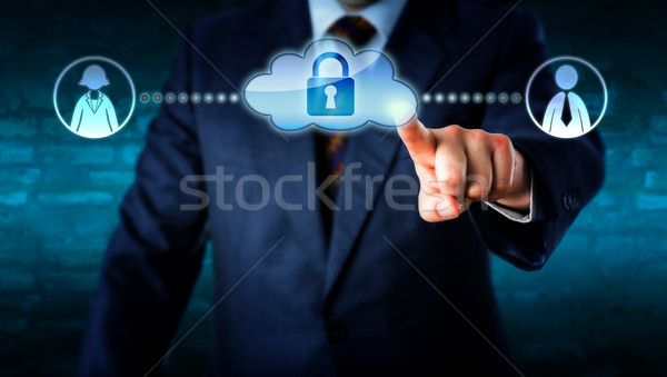 Manager Touching Locked Cloud Linked To Workers Stock photo © leowolfert