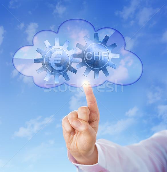Euro And Swiss Franc Interlocking In The Cloud Stock photo © leowolfert