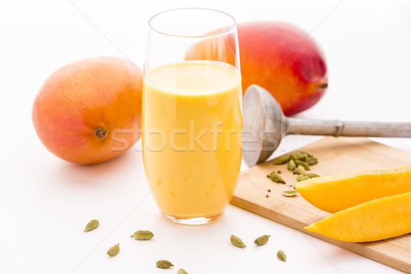 Mango twee vruchten eigengemaakt glas Stockfoto © leowolfert