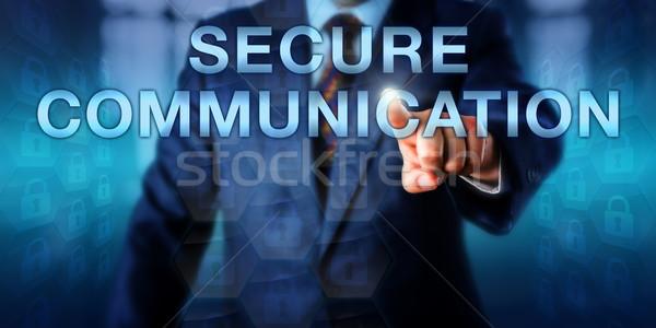 Expert Pressing SECURE COMMUNICATION Onscreen Stock photo © leowolfert