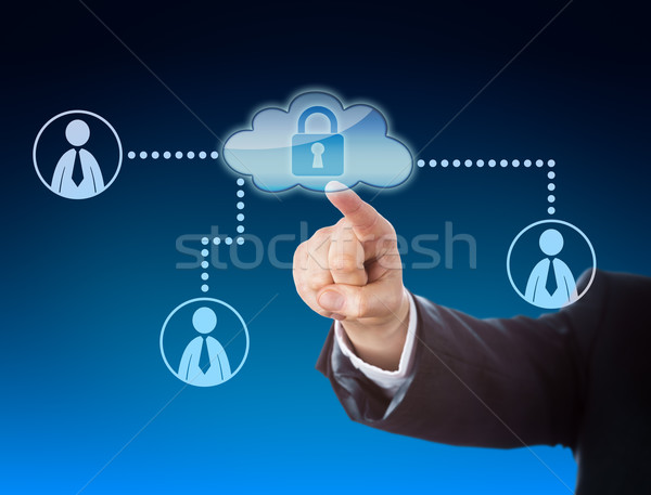 Finger Pointing At Cloud Access In Social Network Stock photo © leowolfert