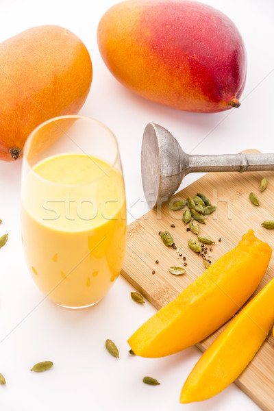 Mango Yoghurt Drink, Cardamon And Fruit Flesh Stock photo © leowolfert