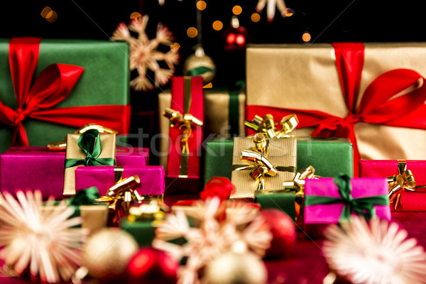 Plenty of Xmas Gifts in Red, Gold and Green Stock photo © leowolfert