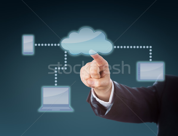 Corporate Arm Touching Cloud Network Icon Stock photo © leowolfert