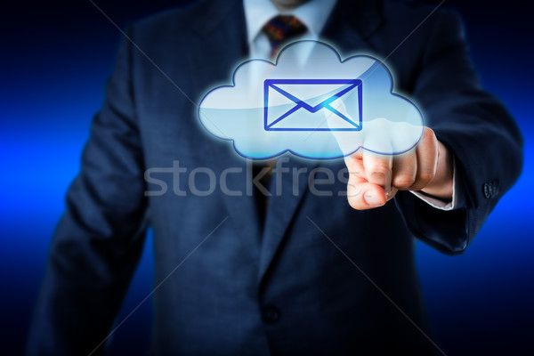 Business Man Touching Email In Blue Cloud Icon Stock photo © leowolfert