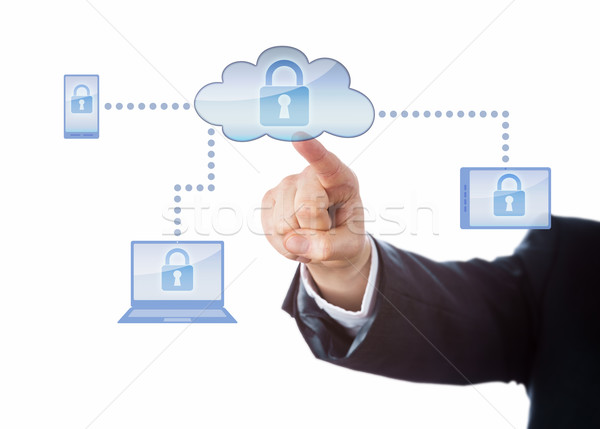 Hand Touching A Locked Cloud Computing Network Stock photo © leowolfert
