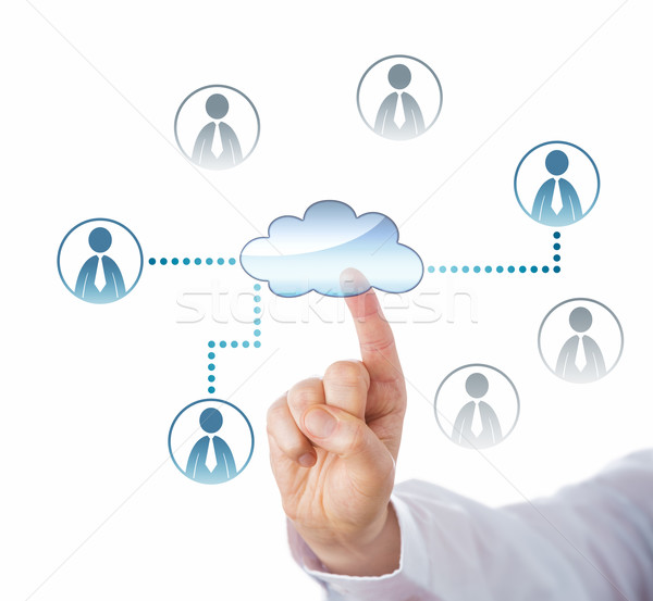 Wskazując chmura icon pracowników biurowych trzy pracownik biurowy Zdjęcia stock © leowolfert