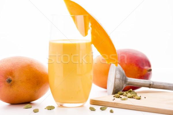 Ingericht mango kardemom twee glas gesneden Stockfoto © leowolfert