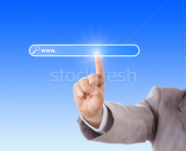 Wijsvinger aanraken lege Zoek vak zakenman Stockfoto © leowolfert