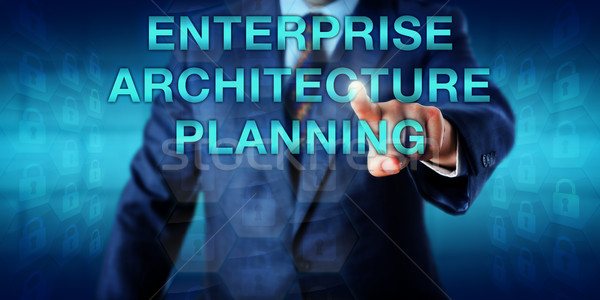 Manager toccare impresa architettura pianificazione business Foto d'archivio © leowolfert