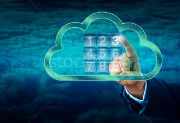 Hand Touching A Cloud Secured By Electronic Lock Stock photo © leowolfert