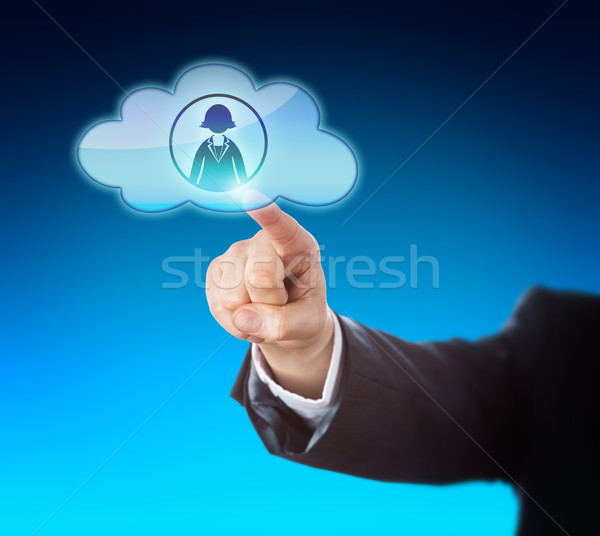 Arm Reaching To Touch Female Worker In The Cloud Stock photo © leowolfert