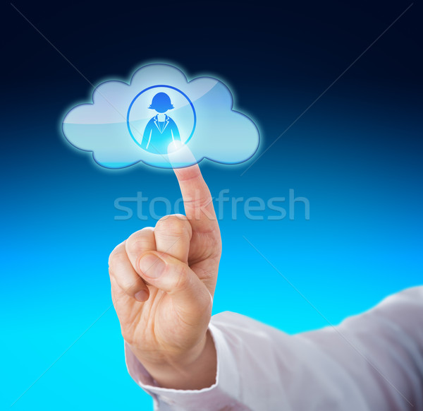 Finger Contacting Female Office Worker In Cloud Stock photo © leowolfert