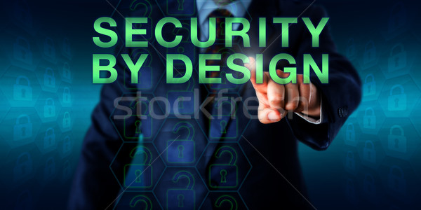 Manager Pressing SECURITY BY DESIGN Stock photo © leowolfert