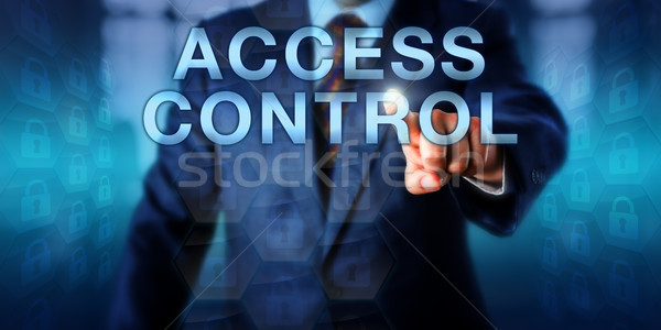 Danych właściciel popychanie dostęp kontroli ekran dotykowy Zdjęcia stock © leowolfert