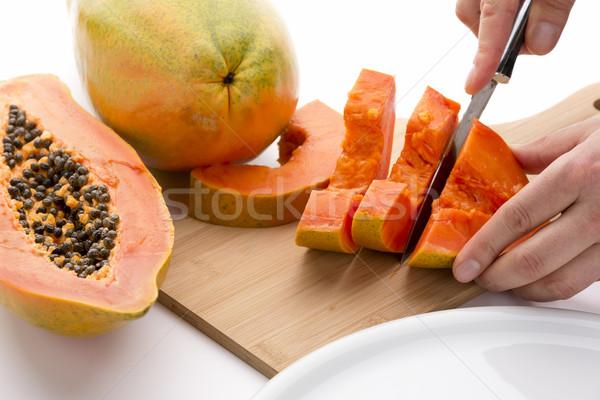 Half vruchten gesneden scherp keuken Stockfoto © leowolfert