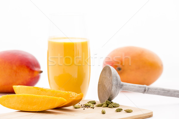 Mango kardemom gesneden stukken zaden Stockfoto © leowolfert