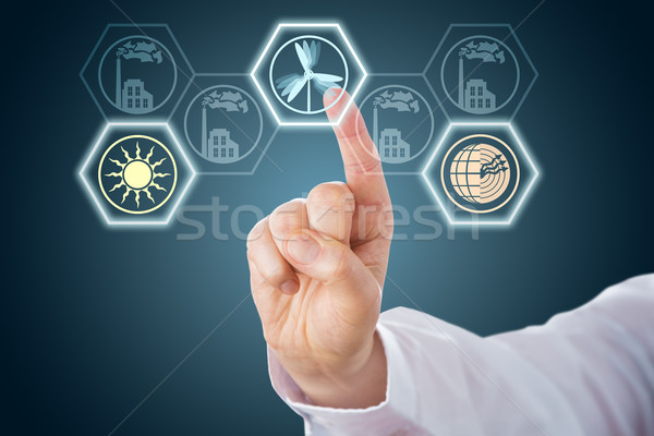 Mannelijke hand hernieuwbare energie iconen wijsvinger Stockfoto © leowolfert