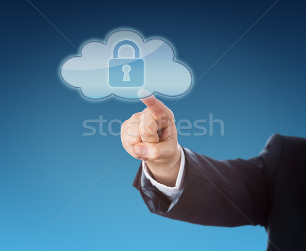 Finger Touching a Cloud Icon Containing A Lock Stock photo © leowolfert