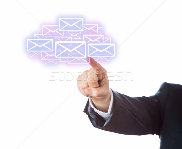 Arm Aiming At Many Email Icons Forming A Cloud Stock photo © leowolfert