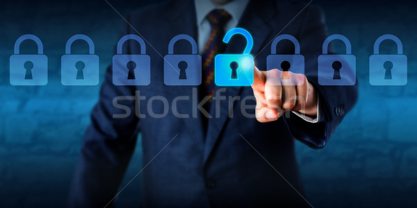 Manager Unlocking A Virtual Lock In A Lineup Stock photo © leowolfert