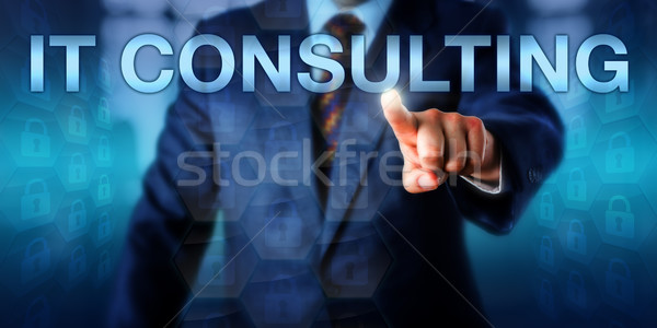 Business Manager Pressing IT CONSULTING Onscreen Stock photo © leowolfert