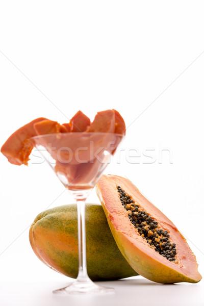 Papaw fruit - succulent pulp and edible seeds Stock photo © leowolfert