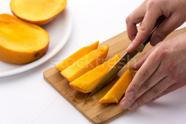 Mes afgewerkt af vierde mango Stockfoto © leowolfert