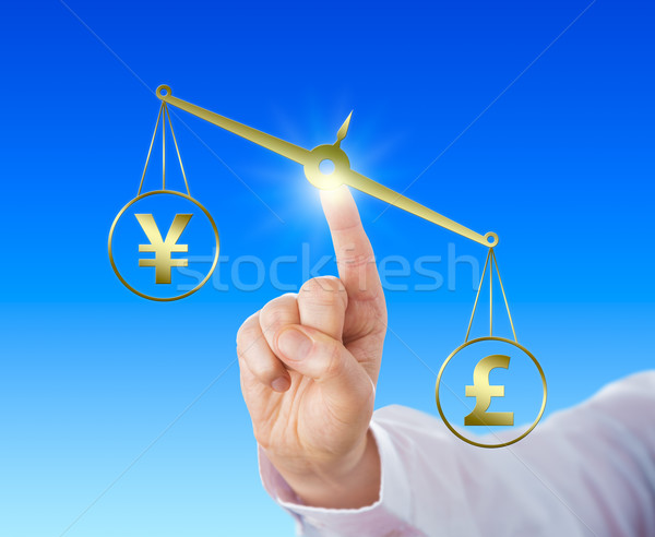 Pound Sterling Outweighing The Yen Sign Stock photo © leowolfert