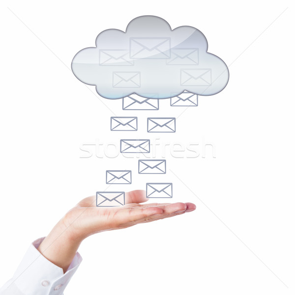 Many Emails Flowing Between Open Palm And Cloud Stock photo © leowolfert