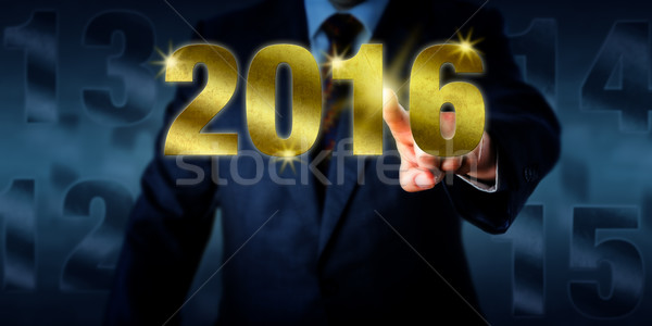 Manager Introducing A Golden New Year 2016 Stock photo © leowolfert