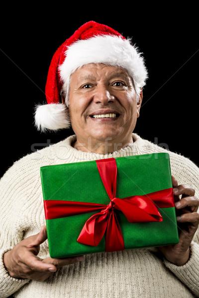 мужчины старший Дед Мороз Cap зеленый подарок Сток-фото © leowolfert