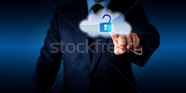 Manager Opening A Lock In The Cloud Via Touch Stock photo © leowolfert